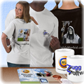 T-shirts and mugs